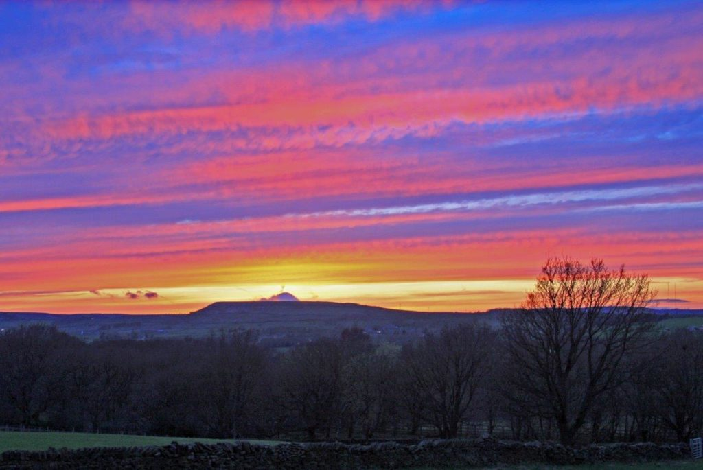 Sunset over Meltham as seen from the Archery Range